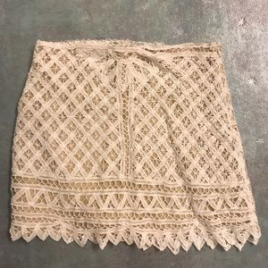 Tobi white crochet mini skirt